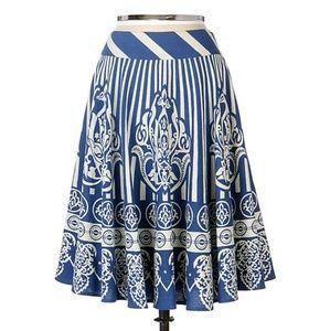 Anthropologie Maple blue + white folk dance skirt